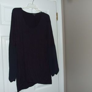 Lane Bryant Knit & Sheer Plus Hi Lo Navy Top 22/24